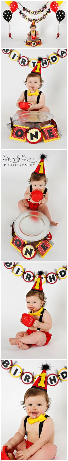1 Year Old Boy Photo Shoot Ideas & Poses - Indoor Session - Cake Smash - Mickey Mouse Theme Birthday - Billings, MT Child & Portrait Photographer