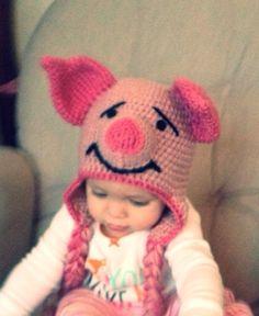 Piglet crochet newborn to toddler hat on Etsy, $25.00
