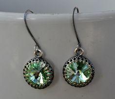 Swarovski Peridot Green Earrings Bridesmaid Retro Wedding Earrings, Victorian Style Antique Silver Bezel Setting Earring, Bridesmaid Jewelry by JewelrybyXinyiMartin on Etsy