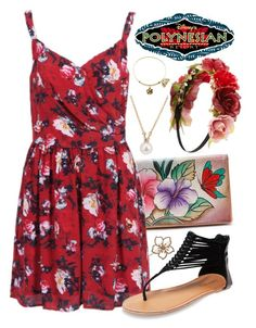 """""""Disney Polynesian Resort"""" by itsactuallyvictoria ❤ liked on Polyvore featuring Tiffany & Co., L. Erickson, Anuschka, Disney, Wet Seal and Forever 21"""