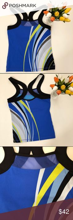 {Alo} Racerback Tank Spring is in the air! It's time to get those bright colors front and center. Here is a classic racerback in Alo chic ness with bright colors & stripes.   Worn 2-3 times and always hand washed  Built in bra ALO Yoga Tops Tank Tops