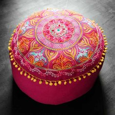 Felt Embroidered Gypsy Floor Cushions - Pouffes & Bean Bags - Home Accessories