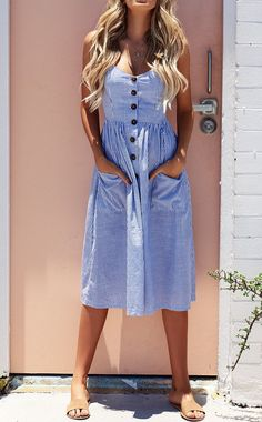 Summer Sexy Striped Pocket White Vintage Bohemian Dress - How To Be Trendy Blue Dresses, Casual Dresses, Maxi Dresses, Casual Outfits, Vintage Summer Dresses, Long Dresses, Cheap Dresses, Dress Vestidos, Vestido Casual