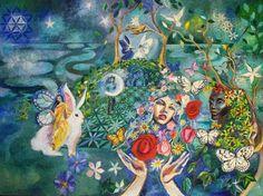 Fairy Queen Print Flower Fairies White Rabbit by RomanyFairytale
