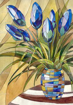 Soyut bir Vazoda Çiçekler — Stok Foto © Marinka #3087162