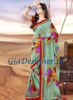 Beautiful Floral Printed Georgette Daily Wear Saree
