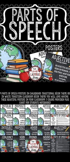 These beautiful Parts of Speech Posters in chalkboard traditional décor theme or in white tradition classroom décor theme are PERFECT for your classroom! You will love having these posters in your classroom on display!