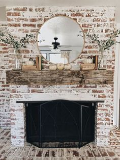 Try one of these 35 gorgeous natural brick fireplace ideas to complete your modern farmhouse or chic oceanfront / indoor living spaces on the coast. German Schmear- and White-Washed-Brick-Tutorials included. Refresh your tired, outdated fireplace Home Fireplace, House Design, Rustic House, Modern Farmhouse, White Wash Brick, Fireplace Mantels, Farmhouse Fireplace, Family Room, Fall Mantel Decorations