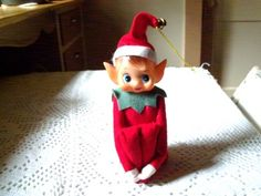 Vintage Christmas Elf Kneehugger pixie.   Soon to become the elf on the shelf. These were as scary as Chuckie or clowns. None in my house.
