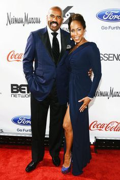 Steve Harvey and Marjorie Harvey attend Screen Gems Presents The Steve & Marjorie Harvey Foundation Gala at Cipriani Wall Street in New York City. Steve Harvey Family, Majorie Harvey, Black Celebrity Couples, New York Street, Celebs, Celebrities, Beautiful Couple, Black Love, Royal Fashion