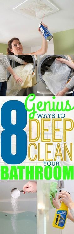 You can never clean your bathroom too much! Deep clean your bathroom with these 8 deep cleaning tips! Pinning for future reference! #bathroomcleaning #bathroomcleaningtips