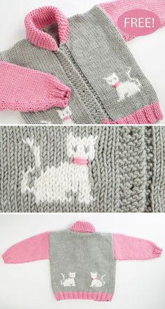 Free Knitting Pattern for Child's Chunky Cat Jacket - Long-sleeved cardigan with. Free Knitting Pattern for Child's Chunky Cat Jacket - Long-sleeved cardigan with shawl collar and kittens on the front a. Baby Knitting Patterns, Baby Cardigan Knitting Pattern, Free Knitting, Knitting For Kids, Knitting Projects, Crochet Patterns, Crochet Cardigan, Crochet Jacket, Knitting Charts