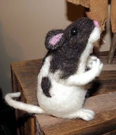 OOAK Artist Needle Felted Sculpted Miniature Black and White Hooded Rat | eBay