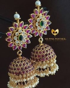 Looking for Jhumka design images? Here are our picks of jhumka models that will go well with any outfit. Gold Jhumka Earrings, Jewelry Design Earrings, Gold Earrings Designs, Bead Jewellery, Bridal Earrings, Necklace Designs, Gold Jewelry, India Jewelry, Gold Designs