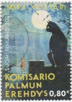 Black Cat on Stamp