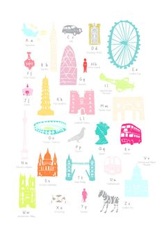 6309e28e892 Illustrated hand drawn A to Z London by UK artist Holly Francesca. All  prints can come framed or unframed.