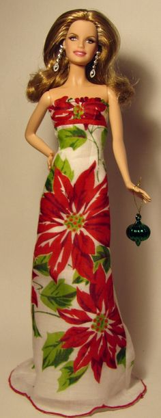 Christmas dress for Barbie made from vintage poinsettia hankie by Sylvia Bittner