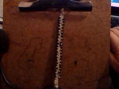 bracelet, double width, black beads, double hemp core