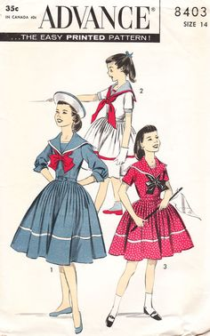 Advance 8403 This is a sewing pattern for a girl's sailor dress. Look Vintage, Vintage Girls, Vintage Dresses, Vintage Outfits, Sewing Patterns Girls, Clothing Patterns, Dress Patterns, Vintage Patterns, Kids Patterns