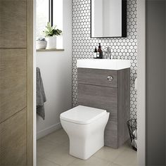 SHOP the Brooklyn Grey Avola Combined Wash Basin & Toilet at Victorian Plumbing UK Small Downstairs Toilet, Small Toilet Room, Small Toilet Design, Downstairs Cloakroom, Cloakroom Basin Vanity Units, Small Bathroom With Bath, Small Sink, Upstairs Bathrooms, Small Bathrooms