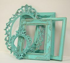 Shabby Chic Picture Frames Set Aqua Turquoise Shabby Chic Home Beach Wedding Decor. $78.00, via Etsy.