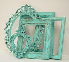 Shabby Chic Picture Frames Set Aqua Turquoise Shabby Chic Home Beach Wedding Decor. $78.00, via Etsy.