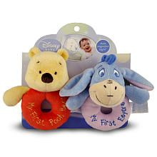 The Kids Preferred Winnie the Pooh Ring Rattles (Colors/Styles Vary) with loops are perfect for little hands to grab and play! Featuring a rattle so soft! These come 2 loop rattles on a header card, so Pooh always has a friend!
