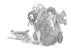 selume-proferre answered: Fili and Kili as little kids trying to sneak up on babysitter Thorin?