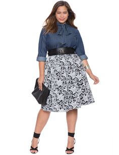 Chambray Bow Blouse | Women's Plus Size Tops | ELOQUII