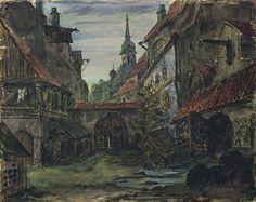 "Style ""Expressionism"" -The blacksmith's courtyard, 1910  Mstislav Dobuzhinsky  WikiPaintings.org"