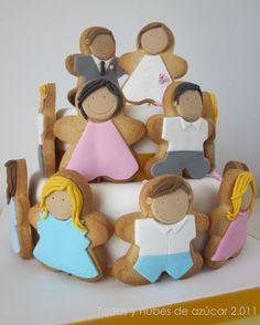 tartas y nubes de azúcar: Bodas de oro (Torta decorada con galletas)