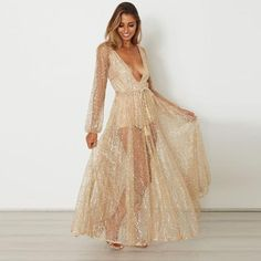Long Sleeve Gold Sequin Dress Women Glittering Glitter Party Maxi Dresses  Sexy Plunge V Neck Backless aaac83335c30