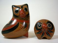 Vintage Mexican Folk Art Owls by dachshundinthedesert on Etsy