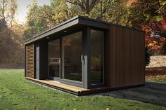 Pod Space's sleek process means there are no planning requirements. Our garden pods & office pods include quality design features and a guarantee. Garden Office Shed, Backyard Office, Backyard Studio, Container House Plans, Container House Design, Small House Design, Sauna House, Tiny House Cabin, Contemporary Garden Rooms