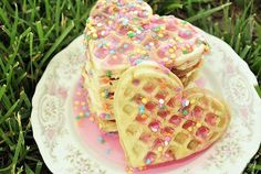 Heart shaped waffles, and sprinkles!