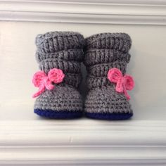 The perfect gift for a baby girl! Slouchy crochet boots made in any size and color combination!
