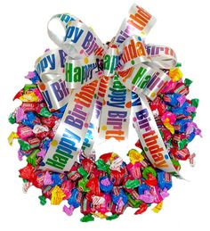 Image detail for -. Dubble Bubble Candy Wreath :: Candy Wreaths :: A Bountiful Harvest Birthday Candy, Birthday Gifts, Happy Birthday, Birthday Wreaths, Birthday Basket, Birthday Ideas, Candy Wreath, Candy Bouquet, Candy Leis