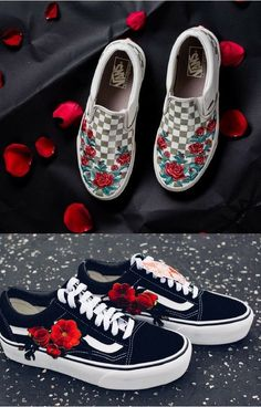 These custom vans are so pretty 🌹 Vans Sneakers, Tenis Vans, Sneakers Mode, Vans Shoes, Sneakers Fashion, Fashion Shoes, Dream Shoes, Crazy Shoes, New Shoes