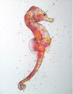 Seahorse by Geoff Muskett , Watercolor and ink Seahorse Tattoo, Seahorse Art, Seahorses, Seahorse Drawing, Seahorse Painting, Watercolor Sea, Watercolor Illustration, Watercolor Paintings, Tattoo Watercolor