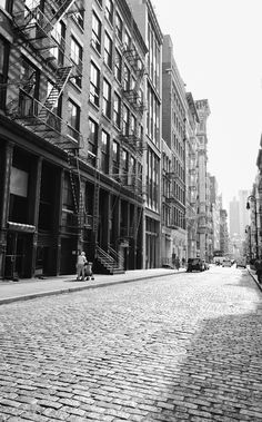 New York City - Soho. Before it became residential/high-end commercial, it was quiet, practically deserted like this most weekends,  and no restaurants or shops.