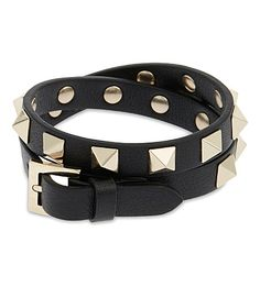 VALENTINO - Rockstud leather double bracelet   Selfridges.com