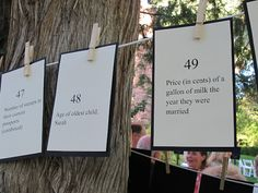 Love this idea - things as they were the year they got married/as they've progressed/accomplishments/special dates through the last 50 years  Since its Dec we can't do out outside but maybe decorate line another way for indoor celebration.