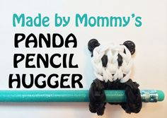 Rainbow Loom Pencil Hugger: Panda Bear