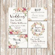 Pink Floral Rustic Water Color Wedding Invitation Kit|DIY Wedding Invitation Kits,see more at: http://diyready.com/diy-wedding-invitation-kits/