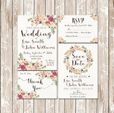 Pink Floral Rustic Water Color Wedding Invitation Kit|DIY Wedding Invitation Kits,see more at: http://diyready.com/diy-wedding-invitation-kits/