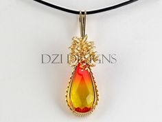 14kt Gold Filled Fire Opal Crystal Pendant Necklace on Handmade Artists' Shop    STUNNING