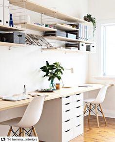 White Office Decor, Diy Office Desk, Modern Office Decor, Office Setup, Home Office Space, Office Wall Decor, Small Office, Spa Interior, Office Interior Design