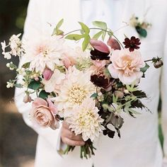 Bouquet of roses, dahlias, chocolate cosmos, astrantia, passion vines and variegated hydrangea by Saipua. Photo by Jillian Mitchell (via Martha Stewart Weddings). Summer Wedding Bouquets, Fall Wedding Flowers, Bride Bouquets, Bridal Flowers, Autumn Wedding, Floral Wedding, Gold Wedding, Autumn Flowers, Fall Bouquets