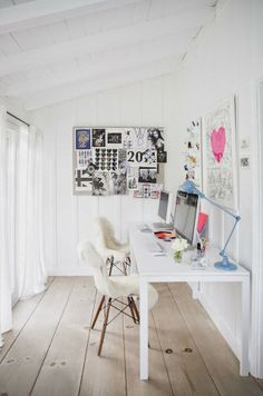 Visit | At home with Anne Ziegler French by design #workspace #white