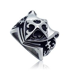The child has a shield ring cross pattern men's fashion trendsetter essential titanium jewelry SA351 male ring - V-Shop